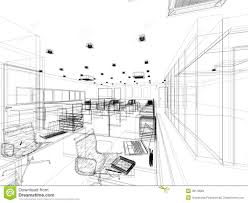 sketch design of interior office royalty free stock image image
