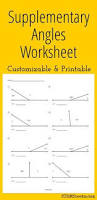 finding supplementary angles worksheet math pinterest angles