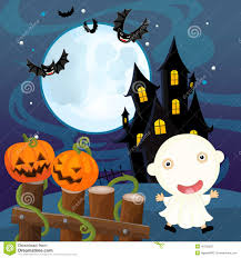 cartoon halloween scene pumpkin and ghost stock illustration