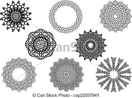 eps vector of circle vignette lace ornaments set in vintage style