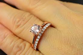 solitaire engagement ring with wedding band ruth set morganite engagement ring in