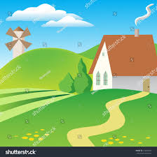 Houses In The Hills Small Village House Hills Stock Vector 126360947 Shutterstock