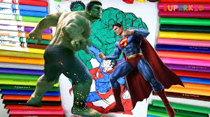 superman vs hulk coloring page for kids superman vs hulk fight