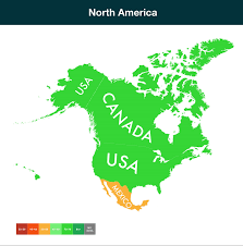 Nord America Map by Which Countries Are Exposed To Climate Change