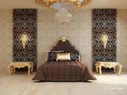 modern bedroom decoration with gold color accent and brown color