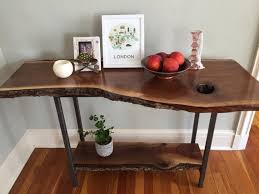 Entryway Tables And Consoles Live Edge Console Table Black Walnut Sofa Table Entryway Table
