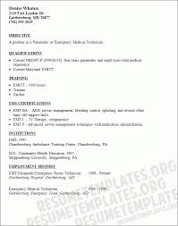 Paramedic Resume Sample by Emergency Medical Technician Resume Template With Skills And