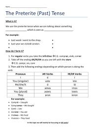 Preterite Worksheet Preterite Worksheet By Dannielle89 Teaching Resources Tes