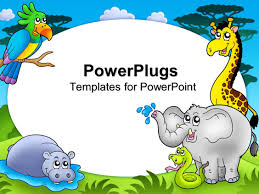 powerpoint template zoo theme with exotic animals with hippo