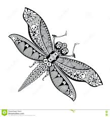hand drawn dragonfly in zentangle style patterned animal illust