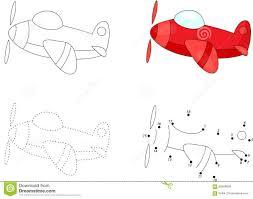 cartoon plane dot to dot game for kids stock vector image 68584829