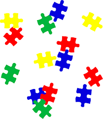 rainbow scattered kids puzzle pieces free clip art