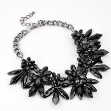 long crystal statement necklace images Fashion jewelry large simulated stone black crystal statement jpg