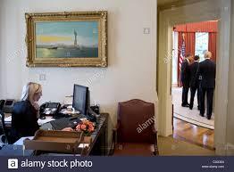 Desk In Oval Office by Us President Barack Obama Talks With Senior Advisor David Plouffe