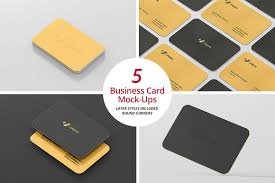 Business Cards Rounded Corners Business Card Mock Ups Round Corners Product Mockups Creative