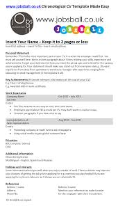 performance resume template jobsball cv and cover letter made easy also known as a performance cv this is the most popular cv and all employers are familiar with it
