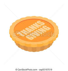 vector clip of thanksgiving day pumpkin pie isolated vintage