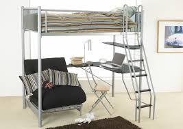 silver steel loft bed with corner desk and shelf completed with