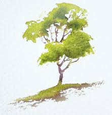 interactive watercolour demonstration simple tree