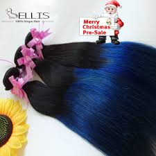 Remy Hair Extensions Cheap by Grade 7a Brazilian Ombre Straight Blue Black Hair Extensions 1b