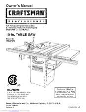 10 In Table Saw Craftsman 22124 Professional 10 In Table Saw Manuals