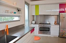 interior design colorful kitchen with green cabinet and open