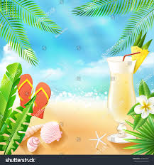 tropical drink emoji tropical sea travel background beach cocktail stock vector