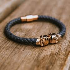 bracelet skull images Twin skull leather bracelet by north skull gadget flow jpg