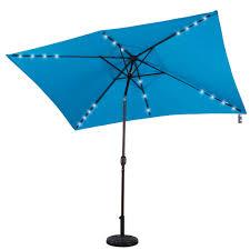 Rectangular Patio Umbrella With Solar Lights by Solar Powered 22 Led Lighted Outdoor Patio Umbrella With Crank And