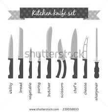 different kitchen knives different types kitchen knives s set stock illustration 239558686