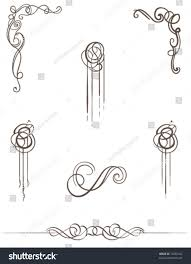 vector scroll collection handdrawn vintage style stock vector