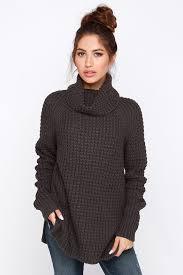 cowl sweater cozy grey sweater waffle knit sweater cowl neck sweater 55 00