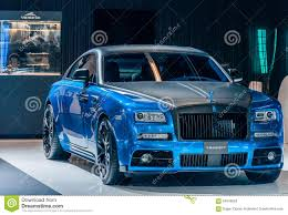 mansory wraith blue mansory rolls royce wraith editorial stock photo image