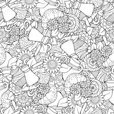 zentangle design seamless tea and coffee doodle pattern with paisley and flowers
