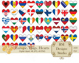 Country Flags For Sale Europe Flags Hearts Digital Clipart Sale Icon Valentine