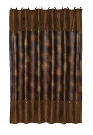 hiend accents rustic faux leather shower curtain with
