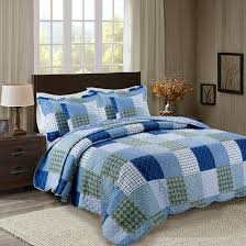 Cotton Quilted Bedspread Oxford Royal Blue Terracotta Patchwork 3pcs Quilted Bedspreads