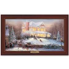 thomas kinkade lighted pictures thomas kinkade lighted holiday canvas print victorian christmas ii