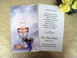 holy communion favors personalized communion favor cards chalice