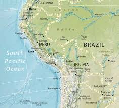 Physical Map South America by South America