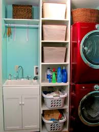 white laundry room shelving ideas with red washing machine of