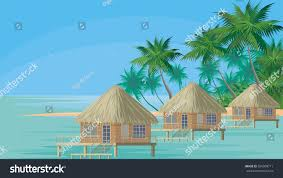bungalows on ocean surrounded by tropical stock vector 556909711