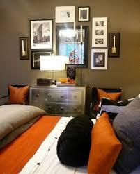elegant gray and orange bedroom on home interior design ideas with