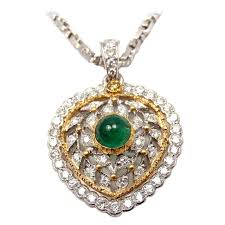 emerald heart necklace images Buccellati emerald diamond yellow and white gold heart necklace jpeg