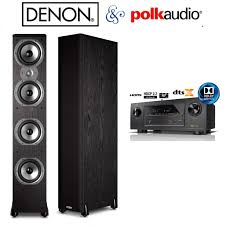 denon home theater receiver denon avr x2300w receiver bundle with 2 polk audio tsi500