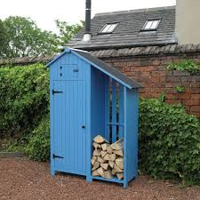 kingfisher blue wooden garden tool shed with log w4 2ft x d1 6ft