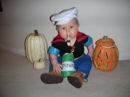 baby popeye costume complete with pipe and spinach clever