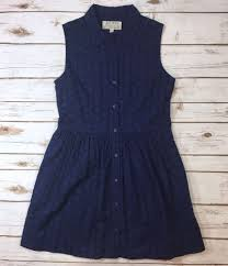 jack wills navy blue sleeveless eyelet button front dress womens