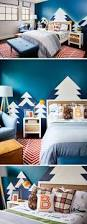 this kids bedroom design features a mountain range as wall art