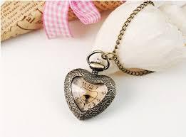 vintage necklace watch pendant images New cute vintage women necklace watch roman numerals love heart jpg